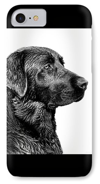 Dog iPhone 8 Case - Black Labrador Retriever Dog Monochrome by Jennie Marie Schell