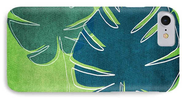 Blue And Green Palm Leaves IPhone Case