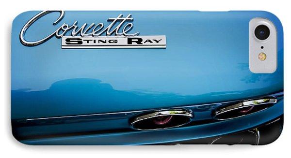 Blue Corvette Sting Ray Rear Emblem IPhone Case
