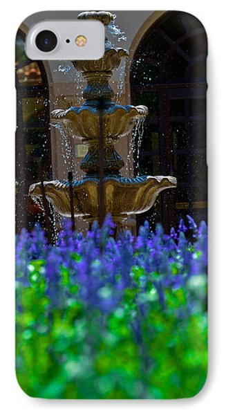 Blue Flowers And A Fountain IPhone Case