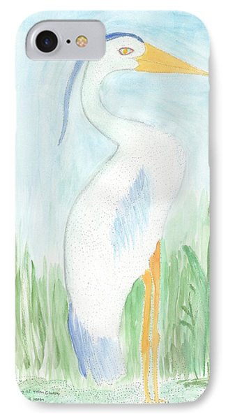 Blue Heron In The Tules IPhone Case