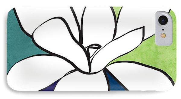 Blue Magnolia 1- Floral Art IPhone Case