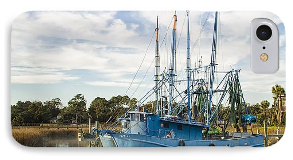 Blue Shrimp Boats On Shem Creek IPhone Case