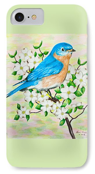 Bluebird And Dogwood IPhone Case