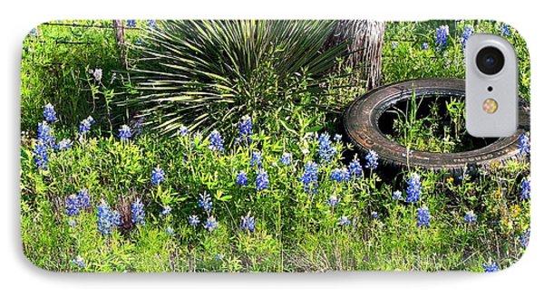 Bluebonnets In Tire IPhone Case