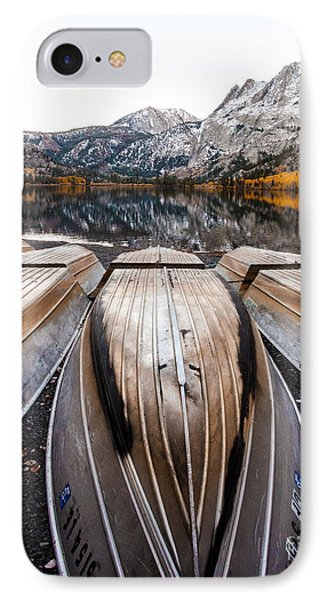 Boats At Mountain Lake In Autumn Fine Art Photograph Print IPhone Case