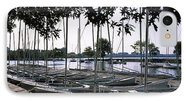 Boats Moored At A Dock, Charles River IPhone Case
