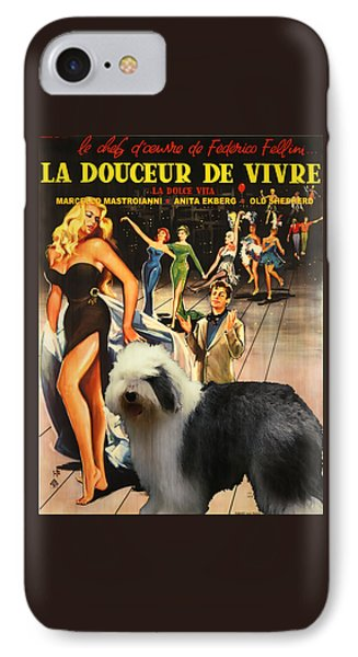 Bobtail -  Old English Sheepdog Art Canvas Print - La Dolce Vita Movie Poster IPhone Case