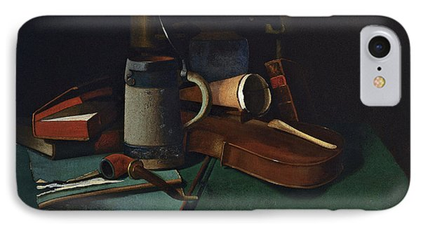 Violin iPhone 8 Case - Books Mug Pipe And Violin by John Frederick Peto