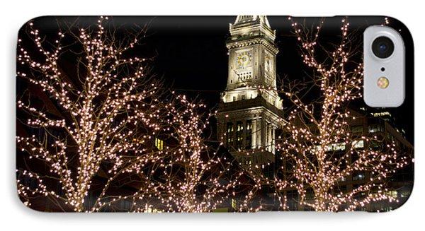 Boston Custom House With Christmas Lights IPhone Case