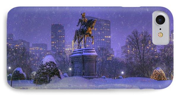 Boston Public Garden In Snow With Boston Skyline IPhone Case