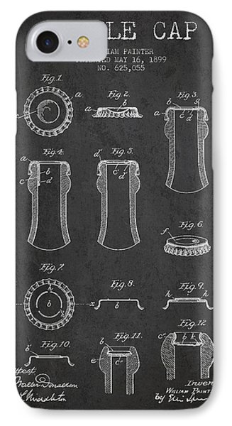 Bottle Cap Patent Drawing From 1899 - Dark IPhone Case