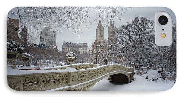 City Scenes iPhone 8 Case - Bow Bridge Central Park In Winter  by Vivienne Gucwa
