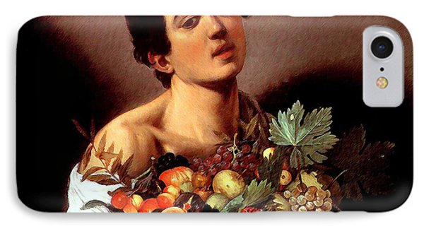 IPhone Case featuring the painting Boy With A Basket Of Fruits by Caravaggio