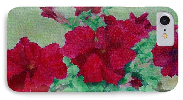 Red Flowers Art Brilliant Petunias Bright Floral  IPhone Case