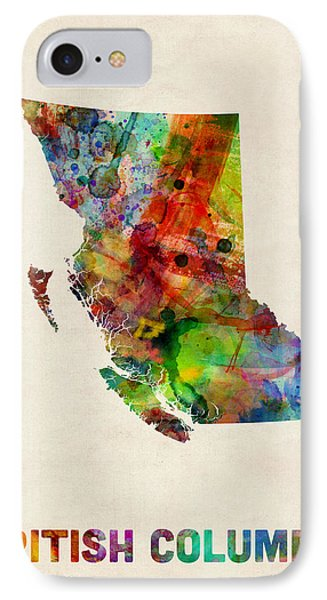 British Columbia Watercolor Map IPhone Case