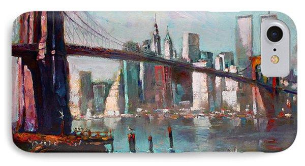 Brooklyn Bridge And Twin Towers IPhone Case