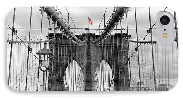 Brooklyn Bridge With American Flag IPhone Case