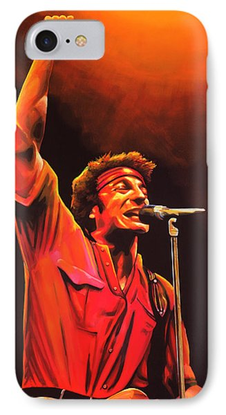 Rock And Roll iPhone 8 Case - Bruce Springsteen Painting by Paul Meijering