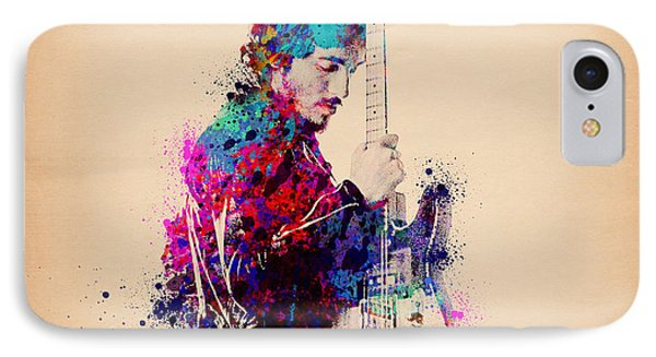 Rock And Roll iPhone 8 Case - Bruce Springsteen Splats And Guitar by Bekim Art