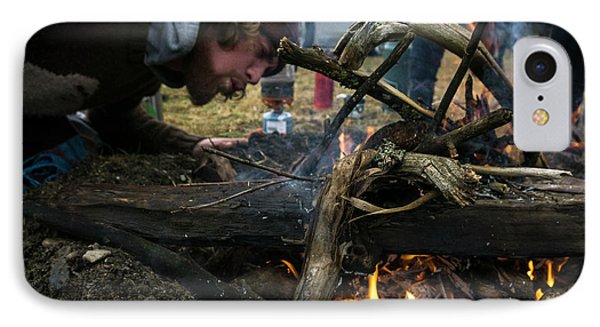Knit Hat iPhone 8 Case - Building A Fire A Camp After A Day by Brandon Huttenlocher