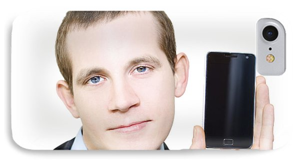 Businessman With Blank Screen Smartphone In Hand IPhone Case