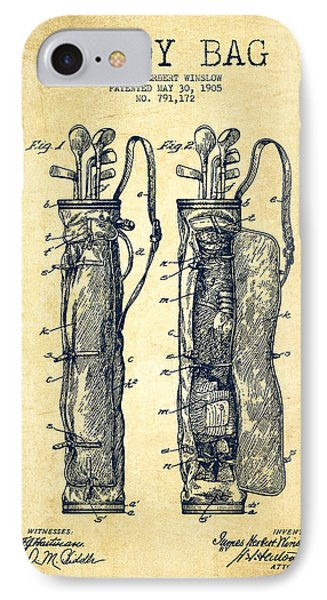 Caddy Bag Patent Drawing From 1905 - Vintage IPhone Case