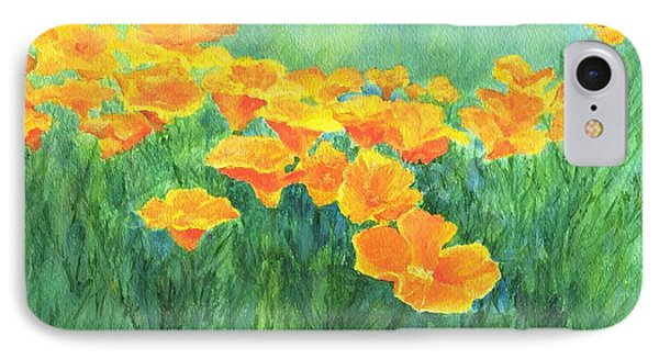 California Golden Poppies Field Bright Colorful Landscape Painting Flowers Floral K. Joann Russell IPhone Case