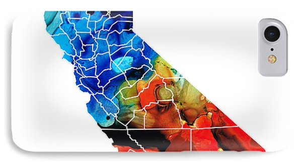 California - Map Counties By Sharon Cummings IPhone Case
