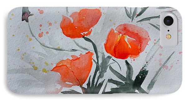 California Poppies Sumi-e IPhone Case