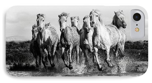 Camargue Horses At The Gallop Bw IPhone Case