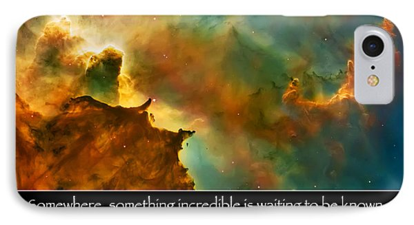 Carl Sagan Quote And Carina Nebula 3 IPhone Case