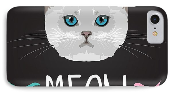 Small iPhone 8 Case - Cat Typography, T-shirt Graphics by Patterntrends