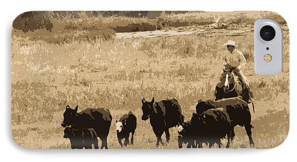 Cattle Round Up Sepia IPhone Case