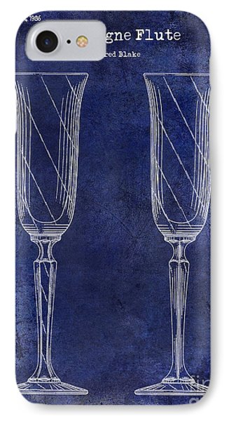 Champagne Flute Patent Drawing Blue IPhone Case