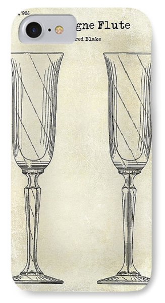 Champagne Flute Patent Drawing  IPhone Case