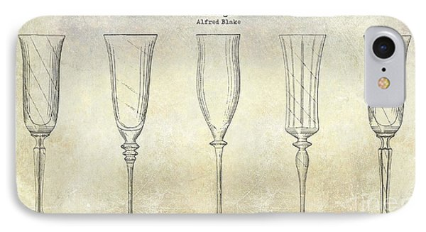 Champagne Flutes Design Patent Drawing IPhone Case