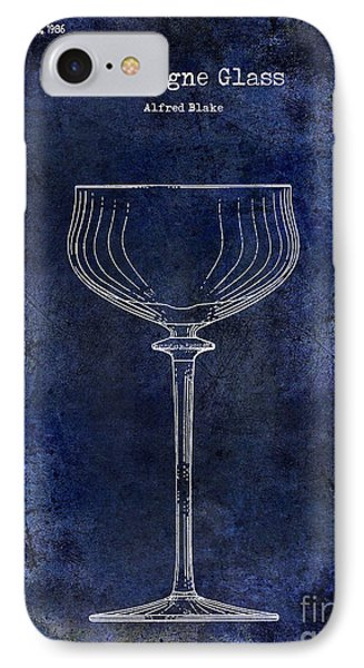 Champagne Glass Patent Drawing Blue 2 IPhone Case