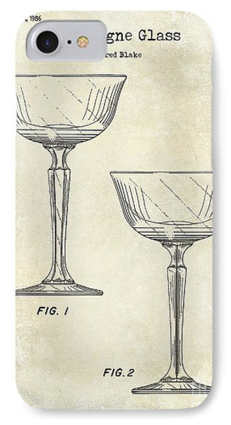 Champagne Glass Patent Drawing IPhone Case