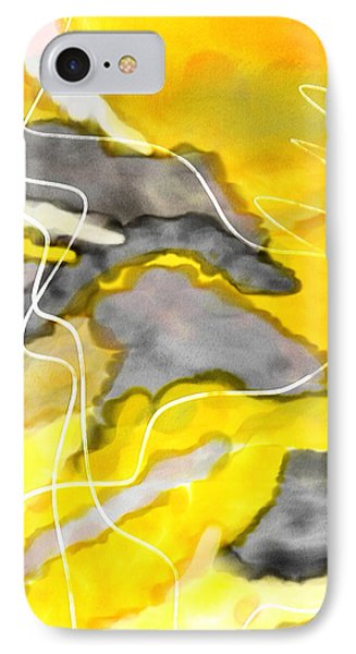 Cheerful Contrast - Yellow And Gray Watercolor IPhone Case