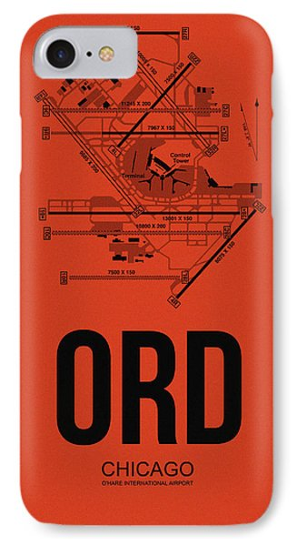 Transportation iPhone 8 Case - Chicago Airport Poster 1 by Naxart Studio