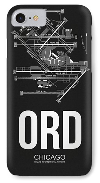 Transportation iPhone 8 Case - Chicago Airport Poster by Naxart Studio