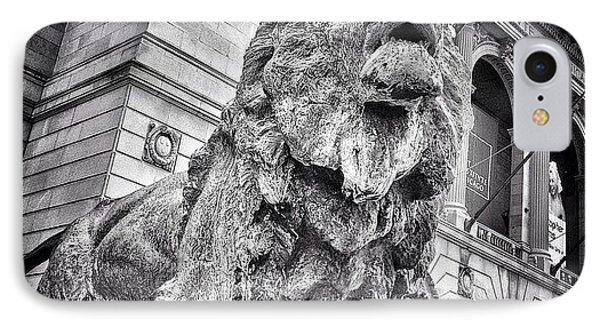 Lion Statue At Art Institute Of Chicago IPhone Case