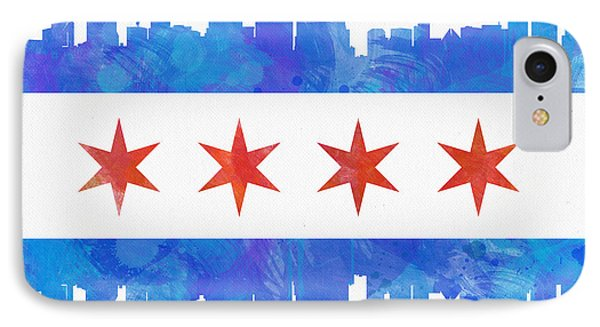 American iPhone 8 Case - Chicago Flag Watercolor by Mike Maher