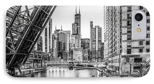 Chicago Kinzie Railroad Bridge Black And White Photo IPhone Case