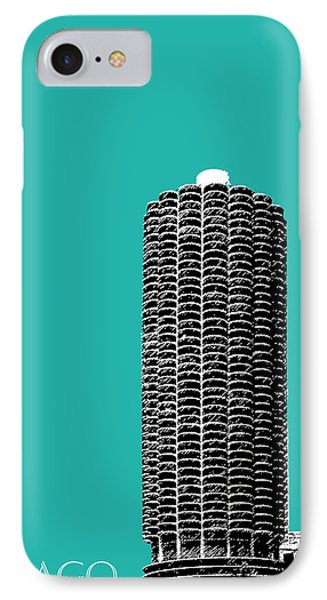 Chicago Skyline Marina Towers - Teal IPhone Case