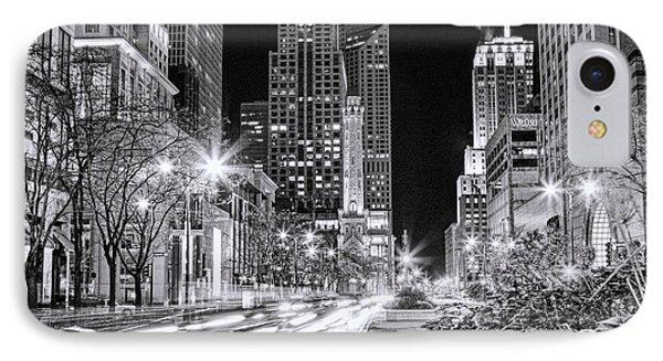 Chicago Michigan Avenue Light Streak Black And White IPhone Case