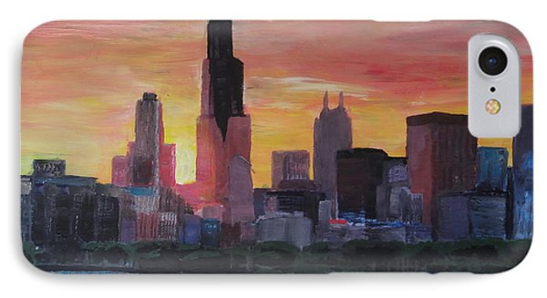 Chicago Skyline At Sunset IPhone Case