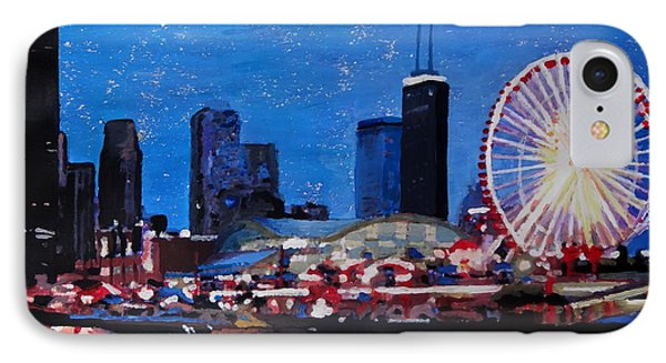 Chicago Skyline With Ferris Wheel IPhone Case