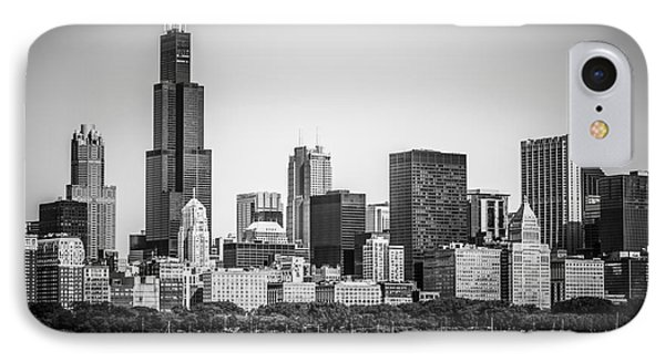 Chicago Skyline With Sears Tower In Black And White IPhone Case